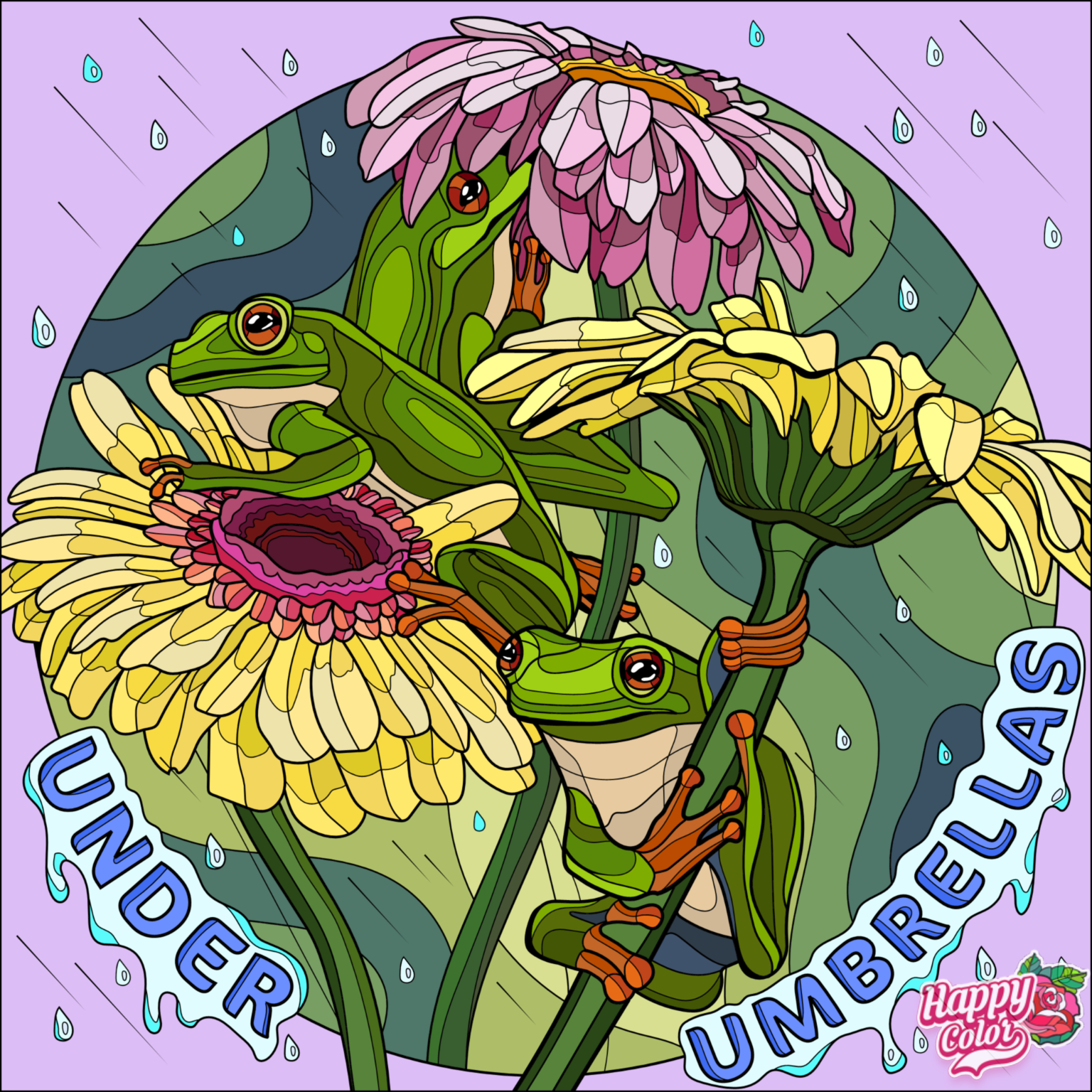 Frogs sheltering under flowers in the rain 